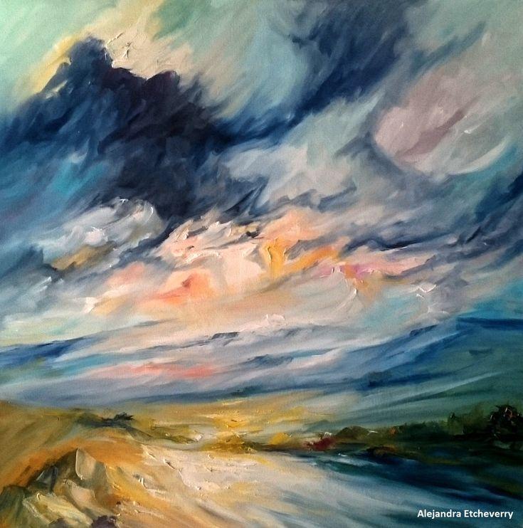 Título: Nubes y sierras - Óleo sobre tela (80x80cm) - Cuadro presentado en el Encuentro de pintores de Cura Brochero, Argentina - Autora: Alejandra Etcheverry