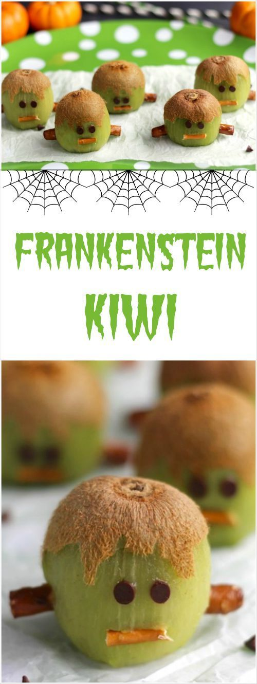 These Frankenstein Kiwis are adorable, super-easy, healthy Halloween treats! Perfect for Halloween fruit trays, fun after-school snacks, and edible Halloween party decorations! ~ from www.TwoHealthyKitchens.com