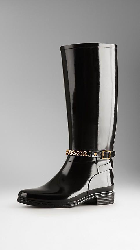 Equestrian Chain Detail Rain Boots   Burberry
