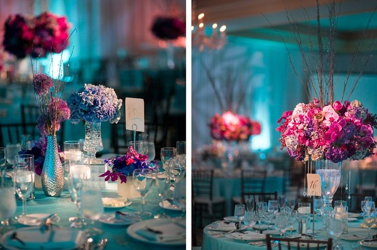 Teal And Purple Wedding Ideas: Teal And Purple Table Decorations Photograph