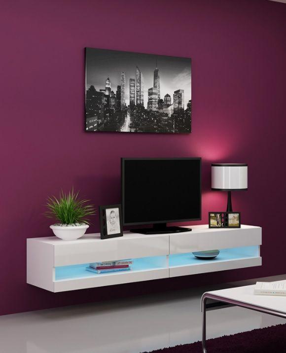 Modern Tv Meubel Hoogglans.Modern Zwevend Tv Meubel Bobbie Led Uitgevoerd In De Kleuren Mat Wit