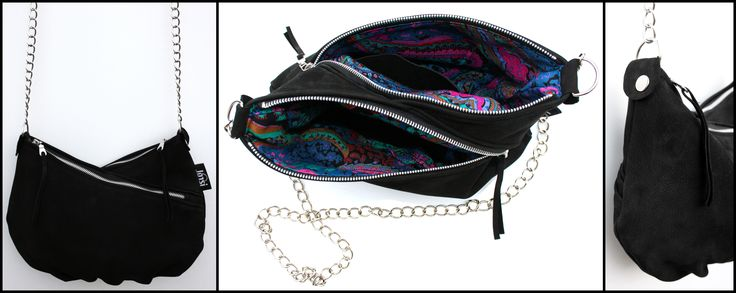 Black suede leather clutch with chain handle