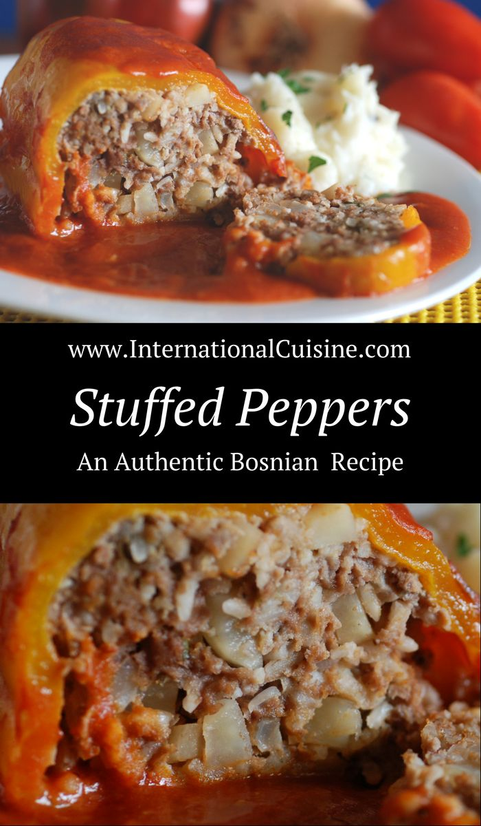 Stuffed Bosnian peppers called Punjena paprikas are delicious!  Stuffed with meat and onions and a lovely tomato sauce that makes a wonderful gravy.  Enjoy!