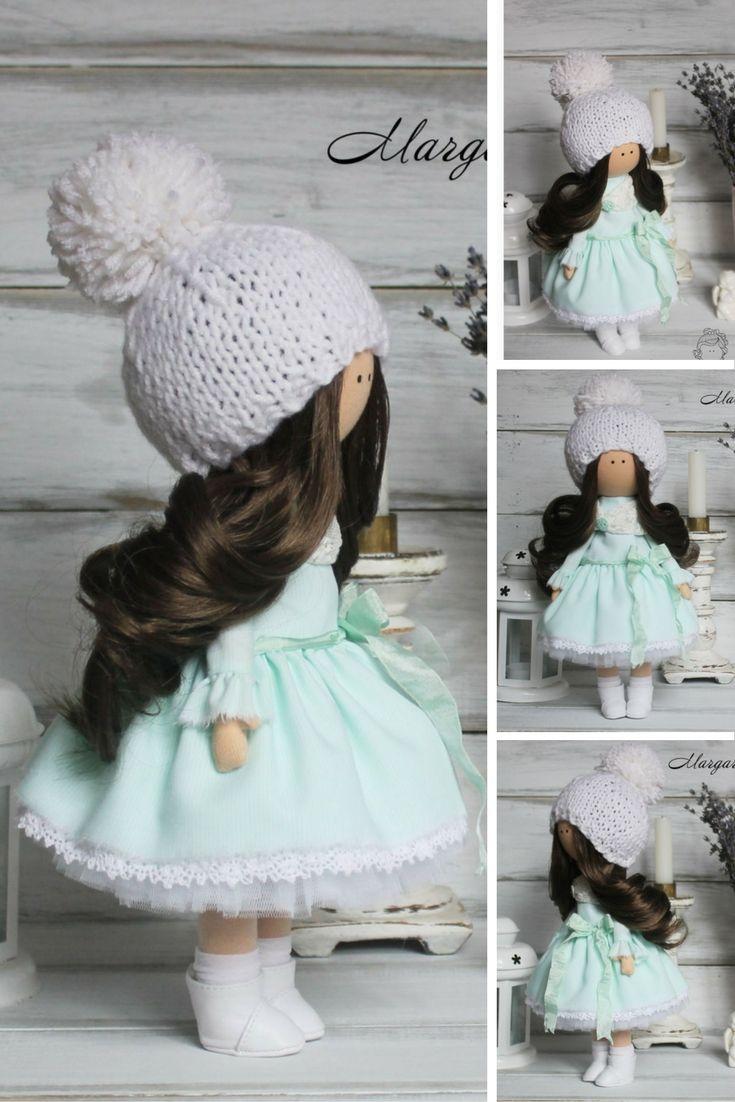 Soft doll handmade light blue violet Tilda doll Nursery decor doll Home doll Art doll Baby doll unique magic doll