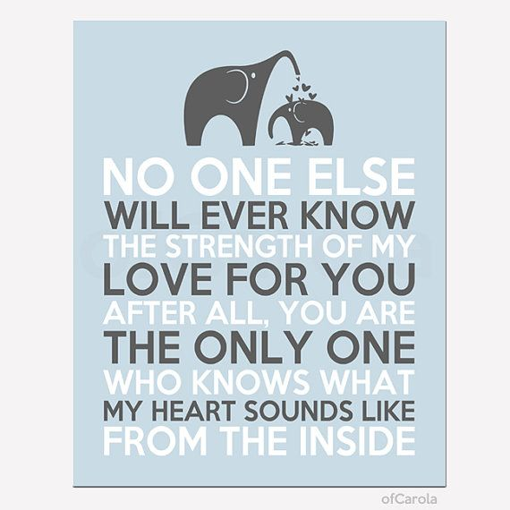 Elephants Wall Art Print No One Else Will Ever Know The Strength Of My Love For You Quote, Personalized Hearts Love Blue Gray White ofCarola...