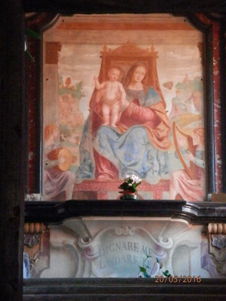 (foto di Purple) venerdì 20 maggio 2016. Bernardino Luini: la Madonna della buonanotte del 1512. Il nome le viene dall'abitudine dei monaci che, risalendo al dormitorio, salutavano la Madonna con l'ultimo Ave Maria del giorno.  paesaggio retrostante: sulla sinistra si possono notare alcune figure di eremiti, sulla destra un religioso vestito di bianco in ginocchio di fronte a un'apparizione, a lato della quale si erge una chiesa.