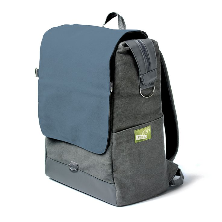 The Laine Avenue Convertible Backpack in the Southern Blue. This is the only backpack with a flap that instantly removes to become a purse! That's why we call it the convertible. Not as cool as a car, but pretty cool.