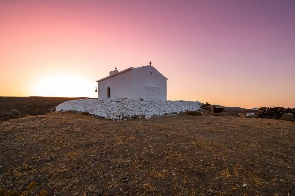 Small chapel at sunset time
