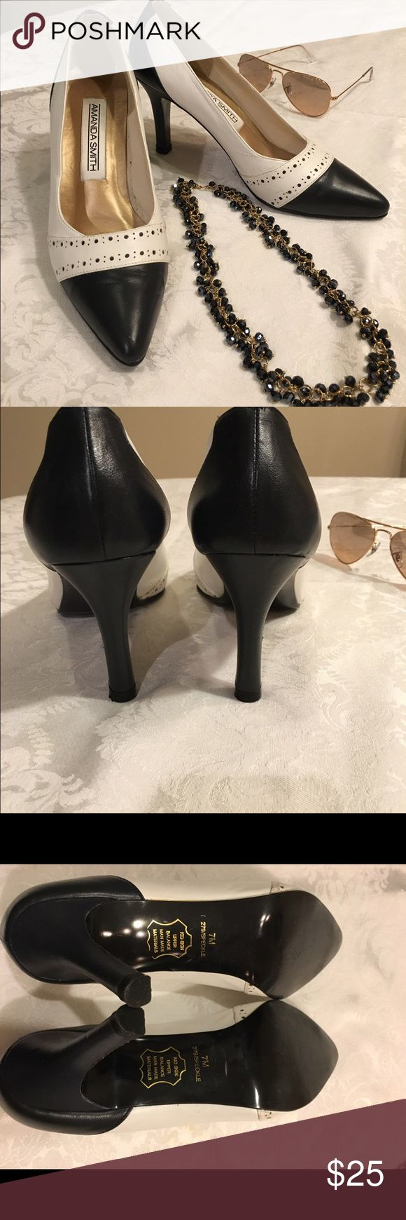"Amanda Smith Spectator Shoes 👠 Amanda Smith Spectator Shoes, two -toned, navy and white. 3 1/4"" heel.  Great condition. Kid skin leather/upper. Amanda Smith Shoes Heels"