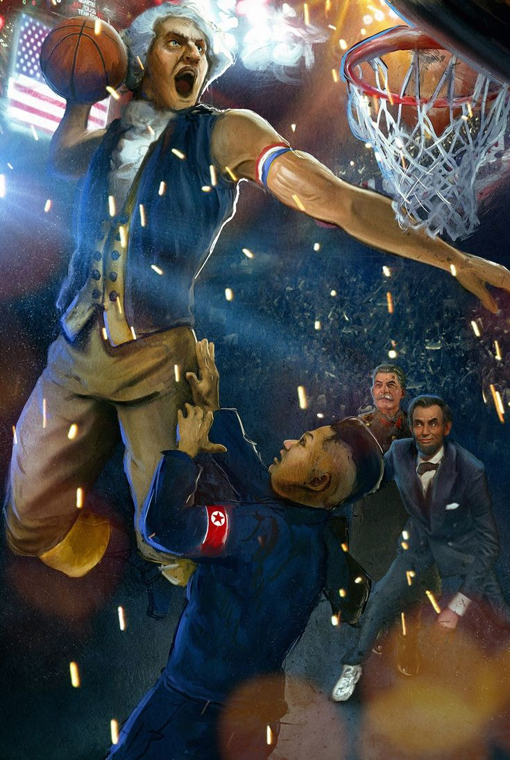 George Washington gets a dunk in on Kim Jong Il while Lincoln and Stalin look on.