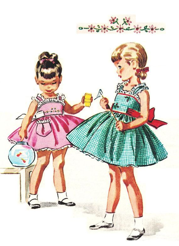 McCall's 2122 UNCUT Vintage 50s Super Adorable Toddler Girls Pinafore Dress with Snap On Petticoat Sewing Pattern Size 2