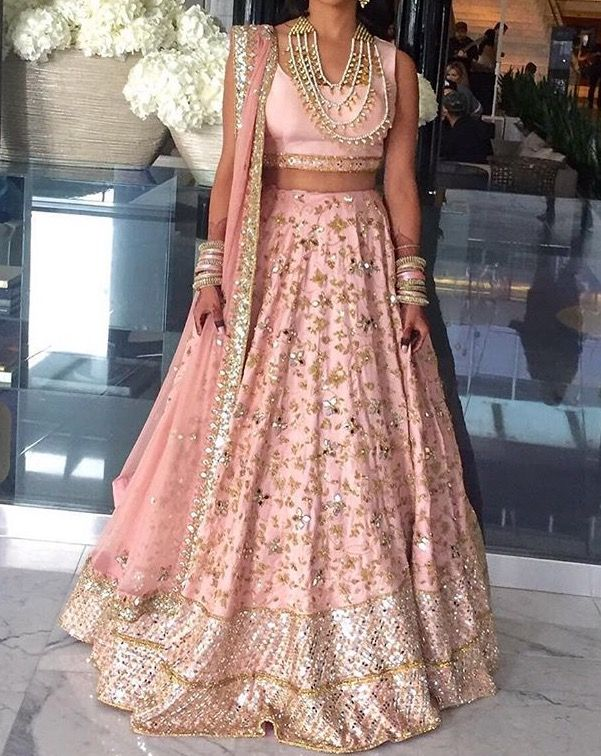 Light pink and silver Bridal lehenga