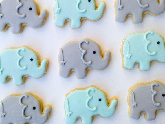 Blue & Gray Elephant Cookies,        Mini Sugar Cookies-2 Dozen, by A Cookie Jar