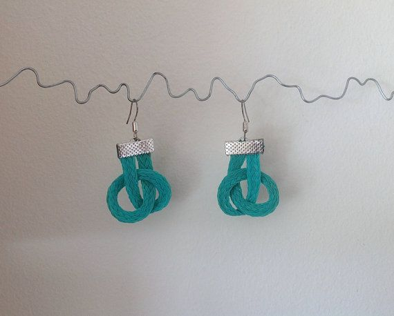 Earrings Nautical Twist Fishing Net Rope by turquoisestormcrafts