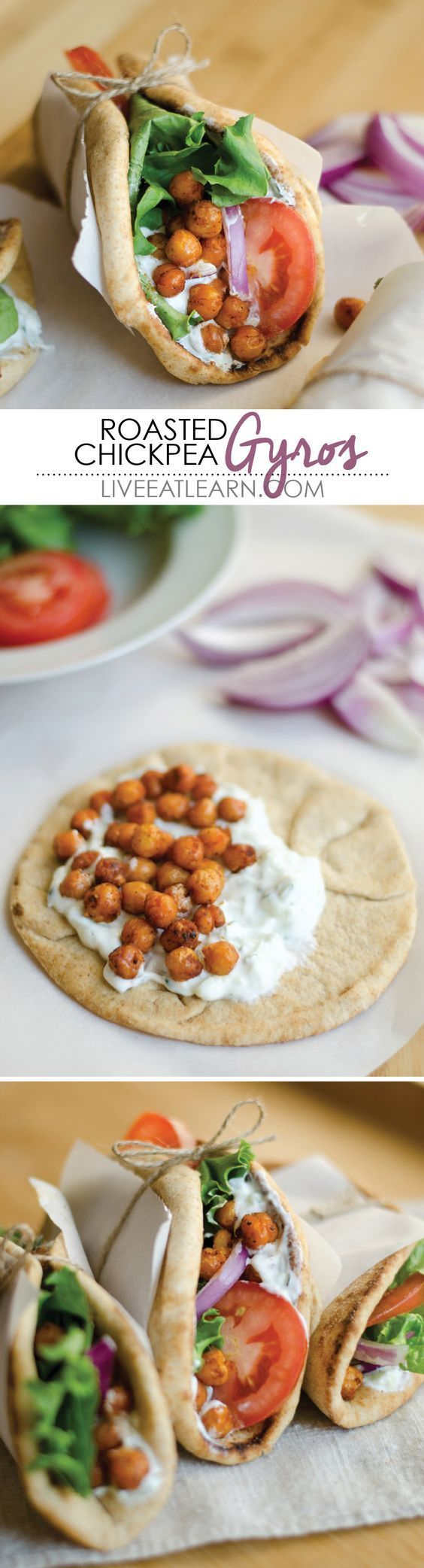These Roasted Chickpea Gyros are a simple and delicious Mediterranean inspired wrap with refreshing tzatziki sauce. The perfect vegetarian lunch or dinner! via @liveeatlearn