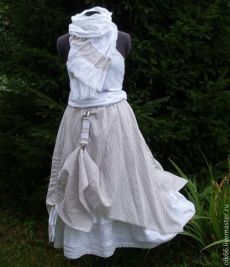 Купить Льняная юбка  бохо №021 - белый, в полоску, бохо стиль, юбка длинная