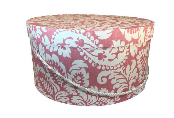 Extra Large Hat Box In Raspberry Pink Floral Gift Box Fabric Covered Box Nesting Boxes Storage Box French Cottage Box With Hat Boxes Pink Damask Hat Box