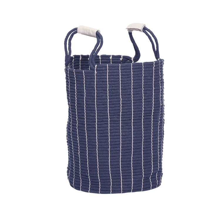 Blue cotton laundry basket with handle. Product number: 360212 - Designed by Hübsch