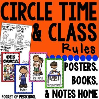 Classroom Rules and Circle Rules are simple rules and expectations for your preschool, pre-k, or kindergarten class! They are easy to remember and developmentally appropriate rules to help you build a caring classroom community beginning from the first day of school. It is a great way to promote and teach good character and good manners in your classroom.