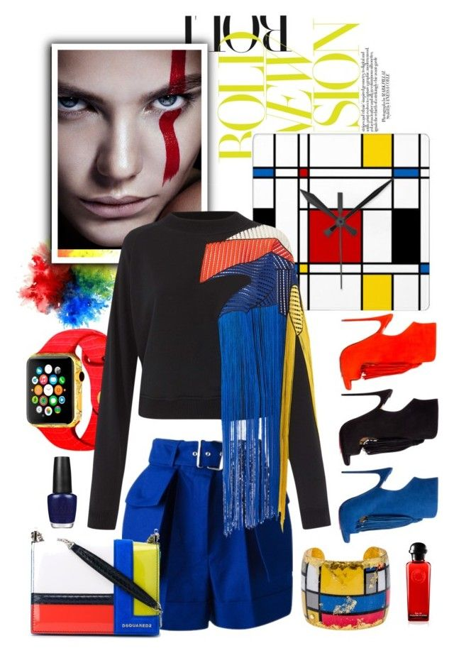"""Mondrian Does Fringe"" by felicia-mcdonnell ❤ liked on Polyvore featuring Karen Millen, Évocateur, Alexander McQueen, Christopher Kane, Christian Louboutin, Dsquared2 and OPI"
