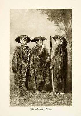 1904 Print Japan Straw Raincoat Mino Peasant Farmer Sedge Hat Broom Asia Orient on eBay!