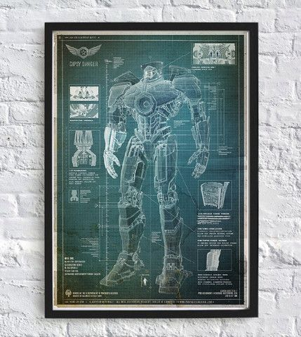 Pacific Rim Technical Drawing Blueprint Home Poster Decoration,Blueprint,Sketch