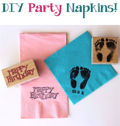 DIY Party Napkins ~ such an easy trick for customizing party napkins!