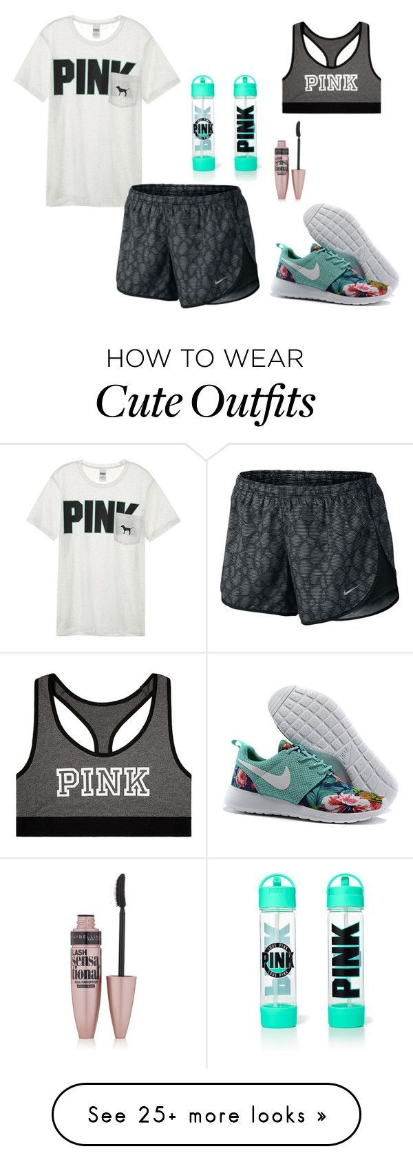 """""""Cute workout outfit"""" by emipooh on Polyvore featuring Victoria's Secret, NIKE and Maybelline"""