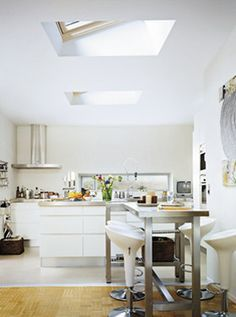 Skylights in living room. Flat ceiling with attic. | Skylights ...
