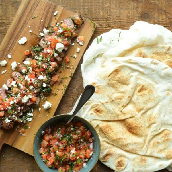 Try my take for the steak gyro in this Grilled Strip Steak Recipe with Watermelon Salsa.