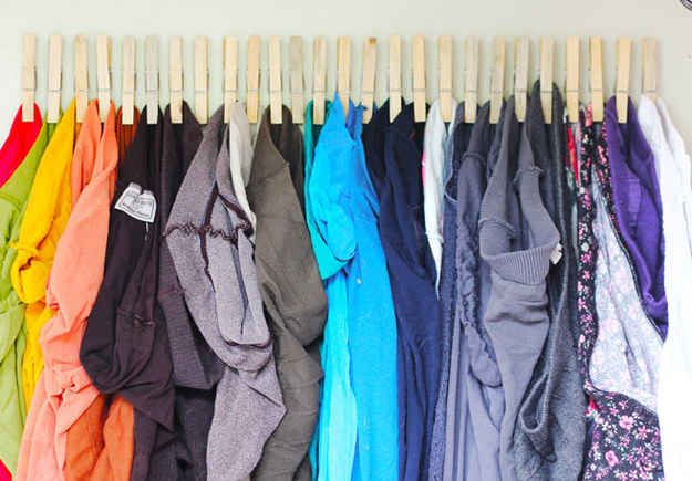 If you have lots of tights, a row of clothespins can make them easy to find (and put away).