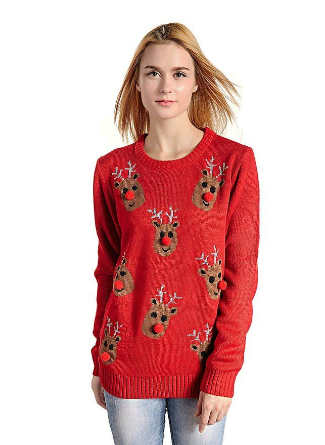 Reindeer Christmas Sweaters for Women. Dasher, Dancer, Prancer and Vixen – can you name all 8 of the reindeer? Dress stylishly for the season with one of these cute Christmas sweaters for women decked out with prancing reindeer!