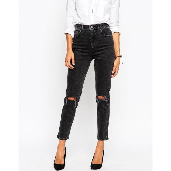 ASOS Farleigh High Waist Slim Mom Jeans In Washed Black with Busted... ($49) ❤ liked on Polyvore featuring jeans, pants, washed black, high-waisted skinny jeans, high waisted jeans, ripped jeans, distressed skinny jeans and tall jeans