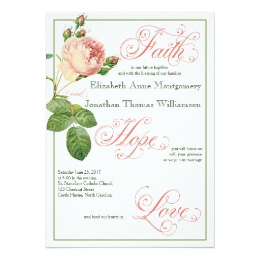 cabbage rose christian wedding invitation