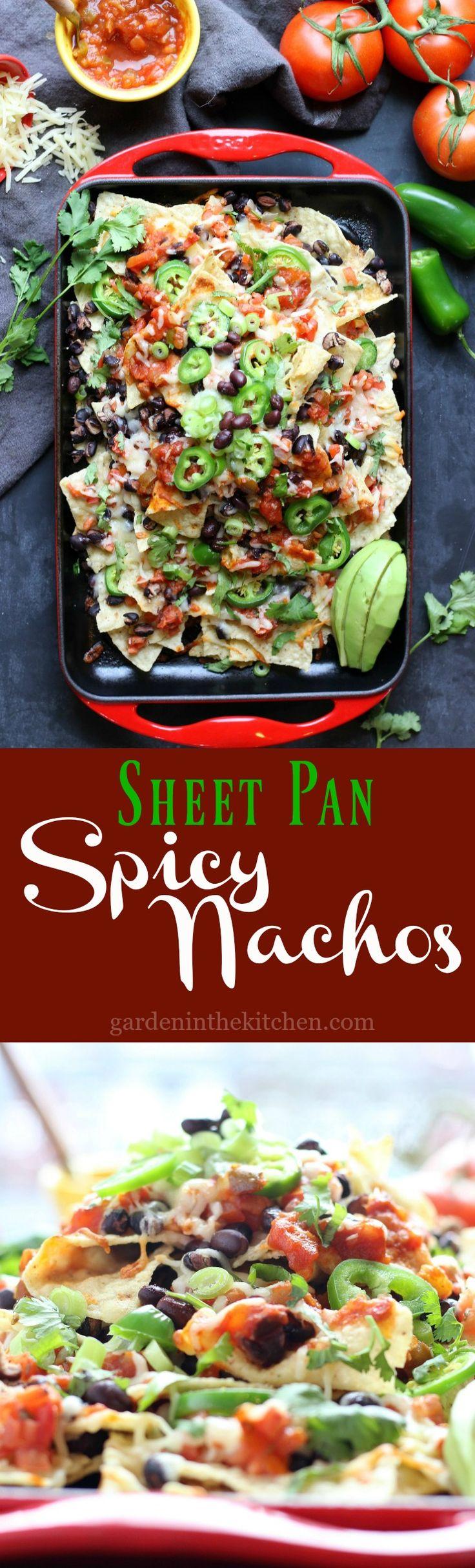 Sheet Pan Spicy Nachos | gardeninthekitchen.com