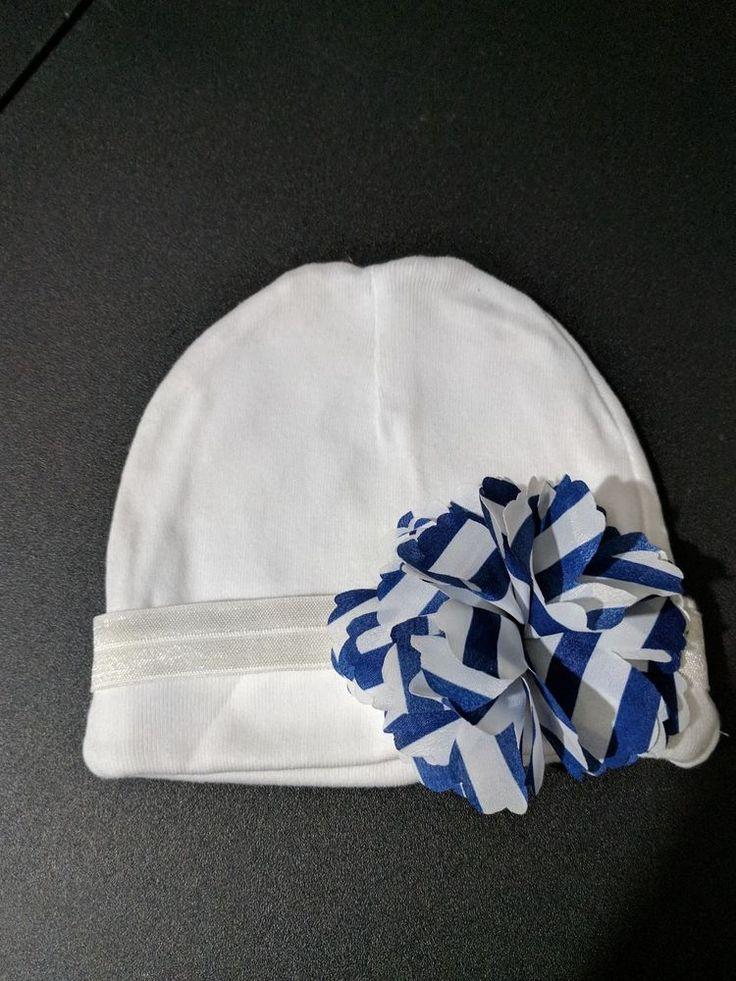 Baby girl beanie white hat blue white flower bow headband 0-6months  #Beanie