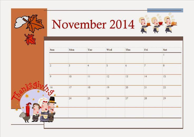 Free Printable November 2014 Calendar For Kids - Thanksgiving Theme