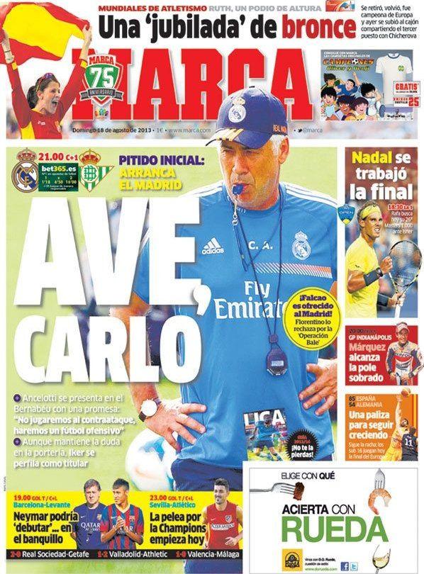 Los Titulares y Portadas de Noticias Destacadas Españolas del 18 de Agosto de 2013 del Diario Deportivo MARCA ¿Que le pareció esta Portada de este Diario Español?