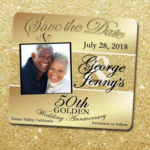 50th Anniversary Save The Date Magnet Golden Anniversary Save