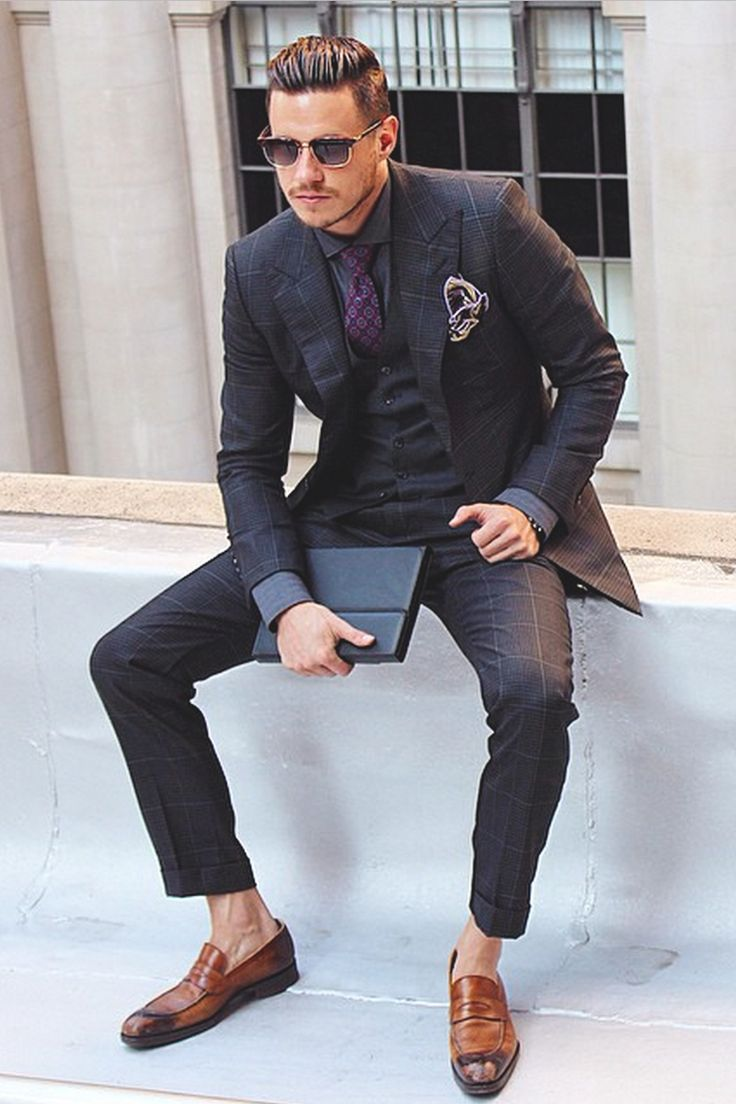 Men's Fashion | Menswear | Men's Outfit for Business | Sharp and Elegant | Windowpane Suit | Spring/Summer Look | Moda Masculina | Shop at designerclothingfans.com