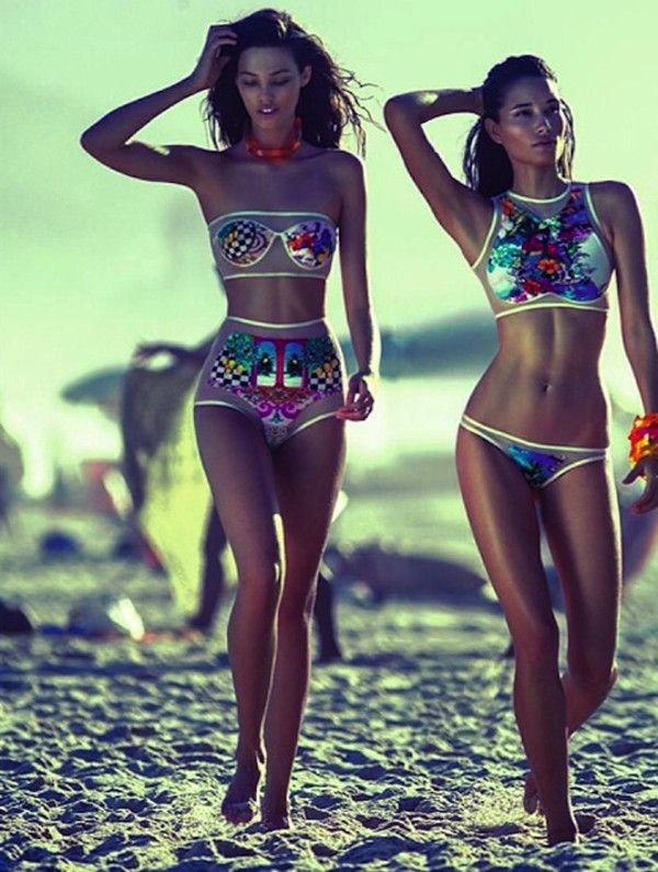 Swimwear: colorful two piece see through patterned bikini high neck highwaisted shorts mesh metallic