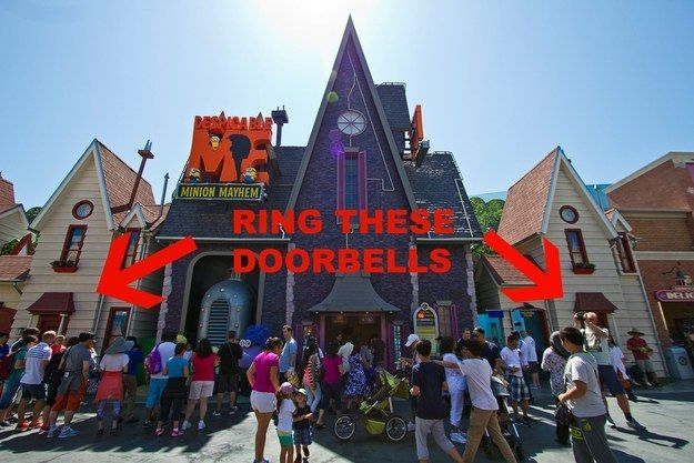 Before you get in line at Despicable Me: Minion Mayhem, ring the doorbells and see what happens. | 33 Insider Tips For Taking Your Kids To Universal Studios Hollywood