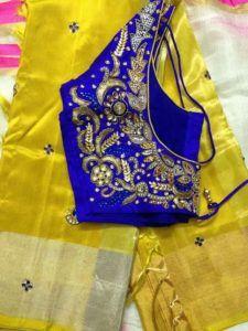 yellow kanjivaram saree from akshaya creation