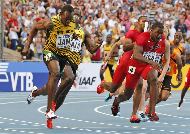 4 x 100m Relay Jamaica & USA Track, field, Athlete, Road