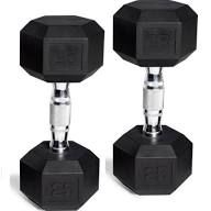 CAP Barbell Rubber-Coated Hex Dumbbells, Set of 2, Black