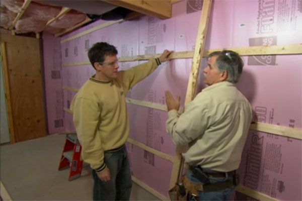 walls with framing and drywall learn how to fur out masonry below