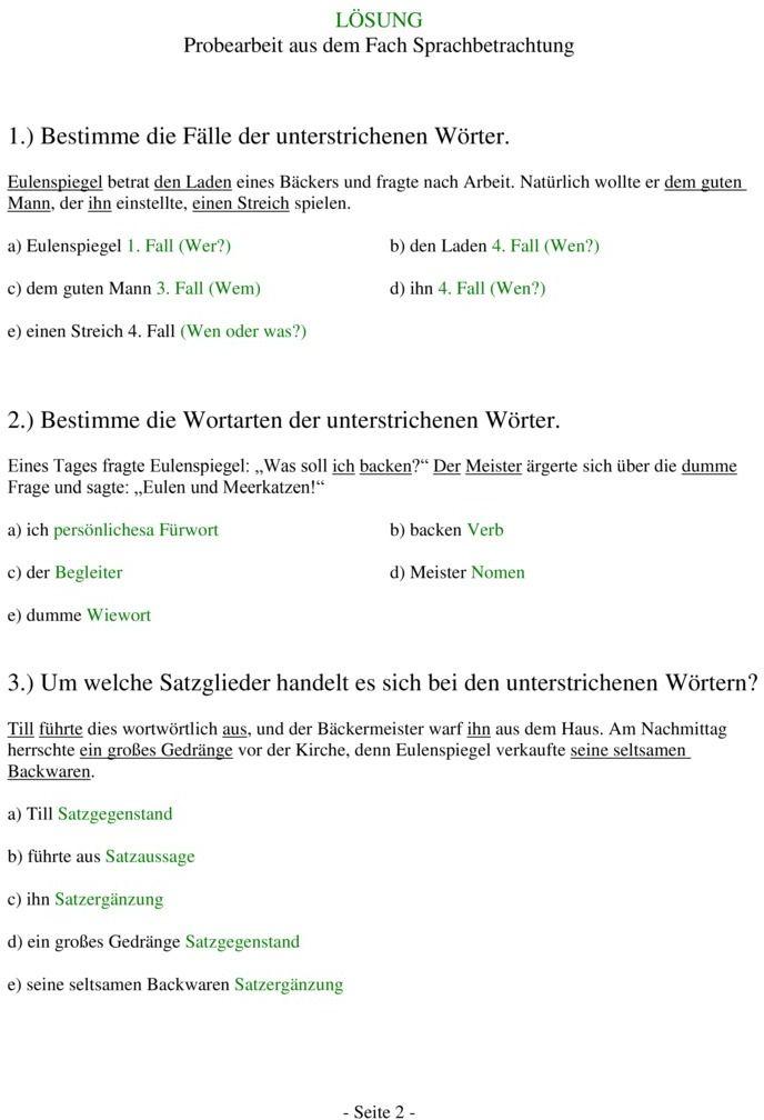 Klassenarbeit Zu Sprachbetrachtung Klassenarbeiten Wortfamilien Sprache