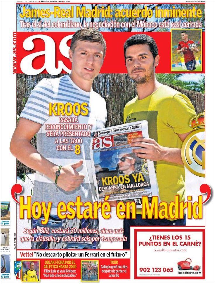 Hoy presentan a Kroos, líder Lucho: Las portadas - LIGA ESPAÑOLA 2014-