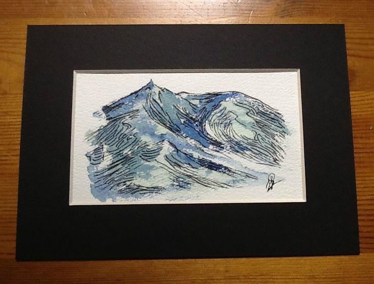 Watercolor and ink painting signed H. JOSÉ, Aiguille du Midi Mont-Blanc Abstract