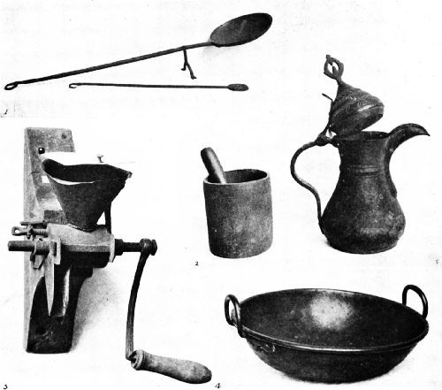 Historical Relics in the Peter Collection, United States National Museum1—Bagdad coffee-roasting pan and stirrer. 2—Iron mortar and pestle used for pounding coffee. 3—Coffee mill used by General and Mrs. Washington. 4—Coffee-roasting pan used at Mt. Vernon. 5—Bagdad coffee pot with crow-bill spout